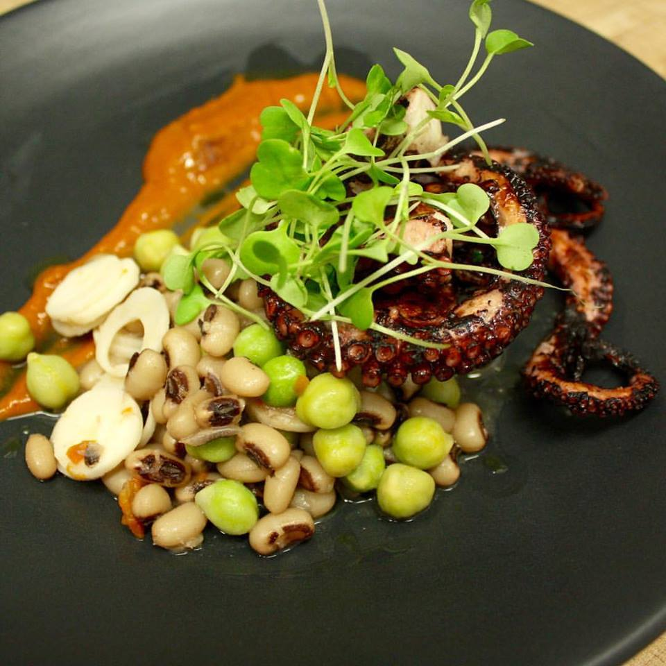 Octopus from the wood grill